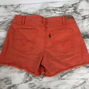 Levi's Shorts - Levi's Women Orange Denim Cut Off Mid Rise Shorts